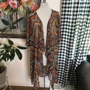 LuLaRoe Shirley Kimono Sheer Boho Print Medium 8Y